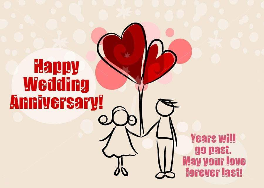 Happy anniversary greeting ecard design with inspirational wording